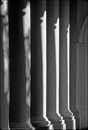 Rotunda Columns in Light and Shadow, UVA